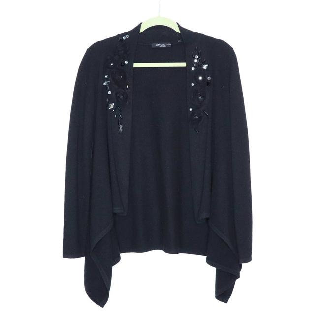 Item - Black XS 5th Ave Embellished Cashmere Open Front Waterfall Cardigan Size 0 (XS)