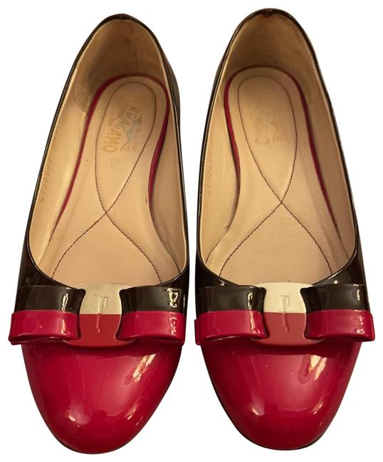 Item - Red and Plum Varuna Bow Patent Leather 2 Colors Flats Size US 7 Regular (M, B)