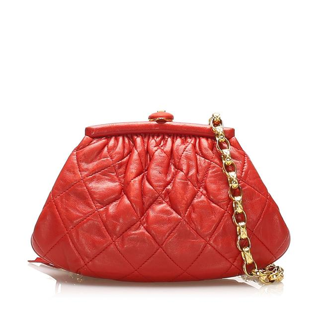 Item - Timeless Pouch Red Lambskin Leather Wristlet