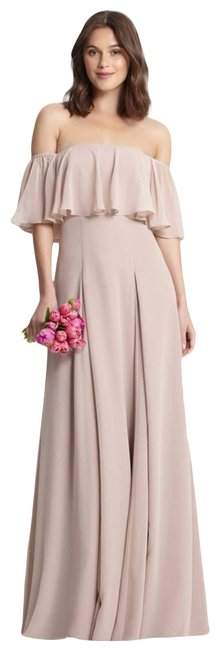 Item - Pink Off The Shoulder Chiffon Gown Formal Dress Size 2 (XS)