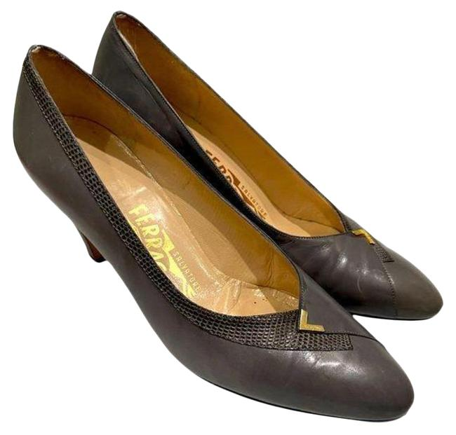 Item - Gray/Gold Embossed Leather Heels Pumps Size US 6.5 Regular (M, B)