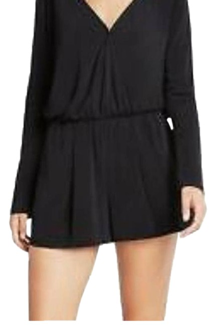 Item - Black Long Sleeve Shorts Romper/Jumpsuit