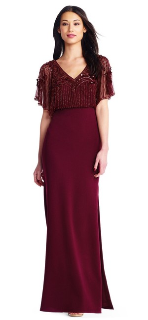 Item - Wine Flutter Sleeve Beaded Gown with Crepe Skirt Formal Bridesmaid/Mob Dress Size 6 (S)