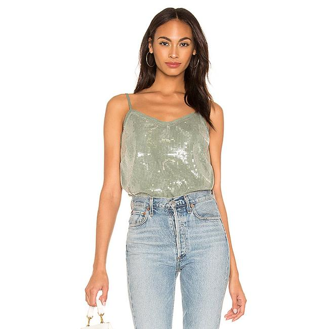 Item - Green Spaghetti Strap Clear Sequin Cami Blouse Size 8 (M)