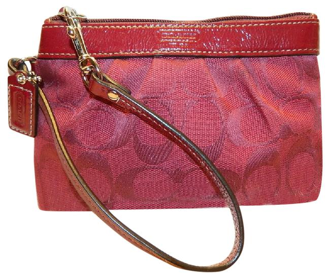Item - Soho Like New~coach Signature Pleated Red Medium Scarlet Red-silver Jacquard-leather Wristlet