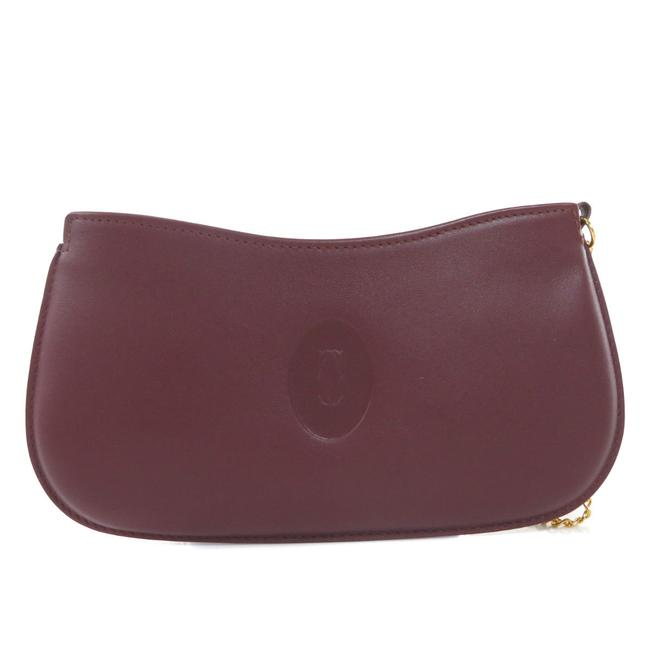 Item - Logotype Accessory Pouch Ladies Bordeaux / Red Color Leather Clutch