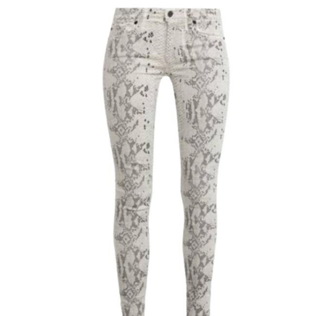 Item - White W/ Black Embellishments Coated Snake Print Skinny Jeans Size 27 (4, S)