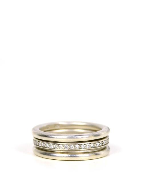 Item - Silver & Set Of Three Sterling Diamond Eternity Bands Ring