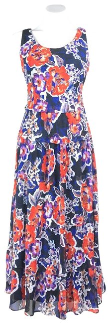Item - Orange Colorful Floral Sleeveless Tank Women's Mid-length Casual Maxi Dress Size 2 (XS)