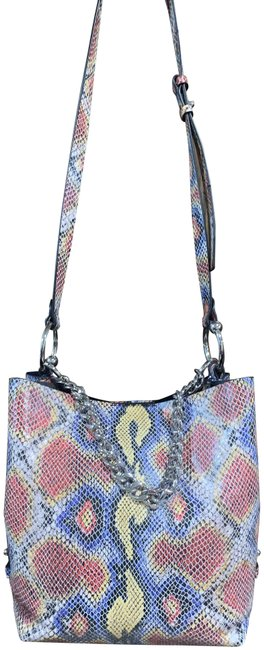 Item - Multicolor Multi Snakeskin Coated Canvas Shoulder Bag