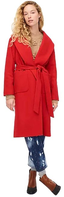 Item - Red Woolen Belted Wrap Coat Size 4 (S)