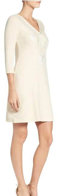 Item - Cream & White Beige Embroidered Clarkson Short Casual Dress Size 6 (S)