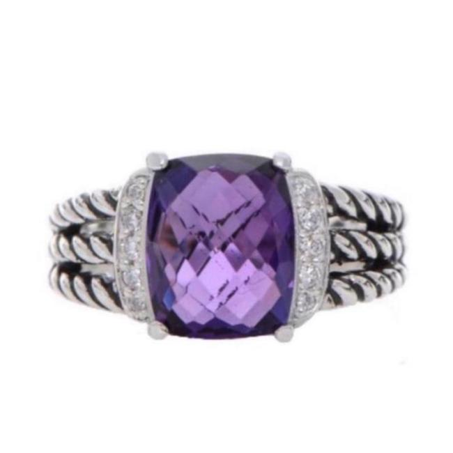 Item - Purple/Silver Amethyst Petite Wheaton Diamond Ring