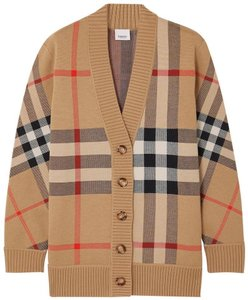 Item - Beige Camel New Check Plaid Sweater Cardigan