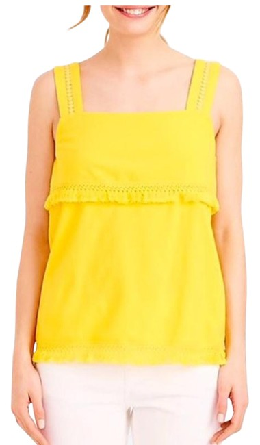 Item - Yellow Fringe Hem Layered Small Tank Top/Cami Size 4 (S)