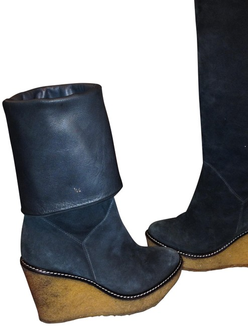 Item - Steal Blue Rubber Wedge Suede Leather Knee High Pull On Boots/Booties Size US 7.5 Regular (M, B)