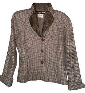 Fendi Brown and Gray Houndstooth Jacket