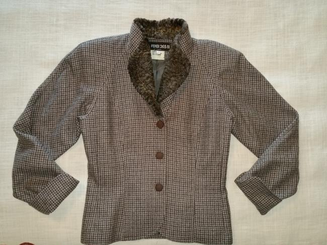 Fendi Brown and Gray Houndstooth Jacket Image 1