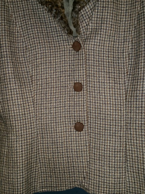Fendi Brown and Gray Houndstooth Jacket Image 10