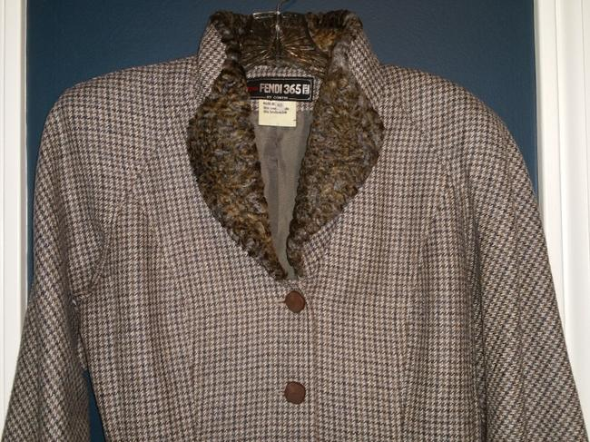 Fendi Brown and Gray Houndstooth Jacket Image 3