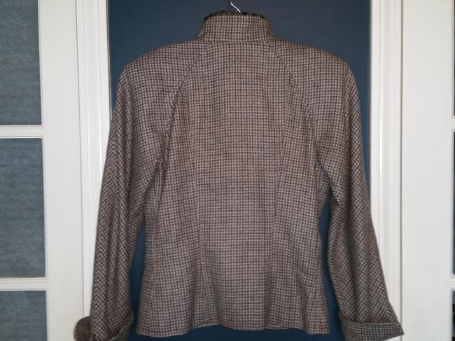 Fendi Brown and Gray Houndstooth Jacket Image 8