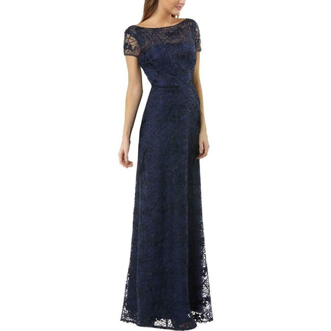Item - Navy Lace Embroidered Gown Long Formal Dress Size 10 (M)
