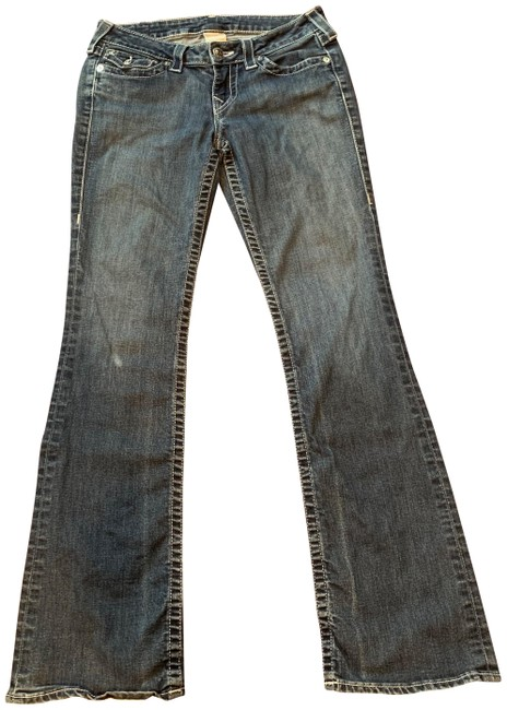Item - Blue Denim Distressed Boot Cut Jeans Size 28 (4, S)