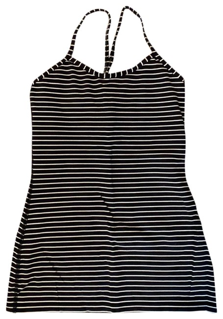 Item - Black and White Stripe Activewear Top Size 4 (S)