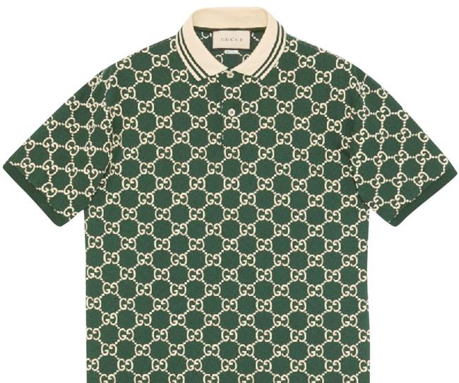 Item - Green and Beige Stretch Cotton Gg Print Polo Shirt From Xxl Button-down Top Size 22 (Plus 2x)
