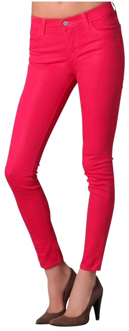 Item - Red Coated Coat Shock Pink Treated Skinny Jeans Size 27 (4, S)