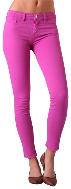Item - Pink Coated Coloured Bright Fuschia Skinny Jeans Size 28 (4, S)