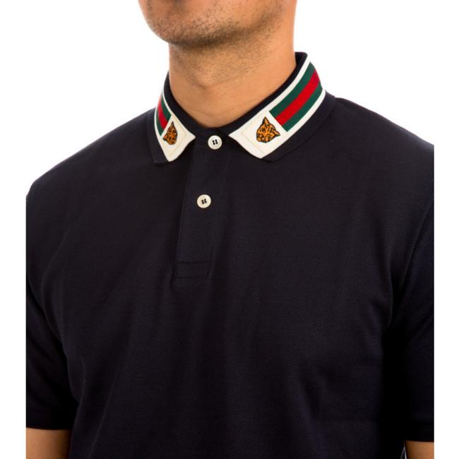 Item - Dark Blue Stretch Cotton Polo Green and Red Web Piquet with Feline Head Button-down Top Size 22 (Plus 2x)