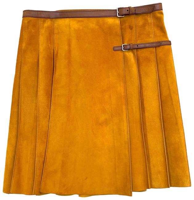 Item - Mustard Yellow Suede Brown Leather Belted Wrap A-line Skirt Size 8 (M, 29, 30)