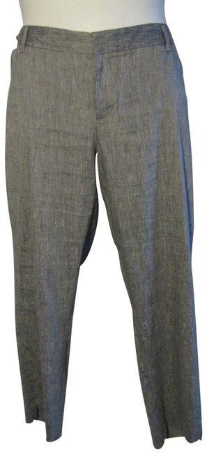 Item - Gray Slim Cropped Pants Linen Blend Stretch Capris Size 18 (XL, Plus 0x)