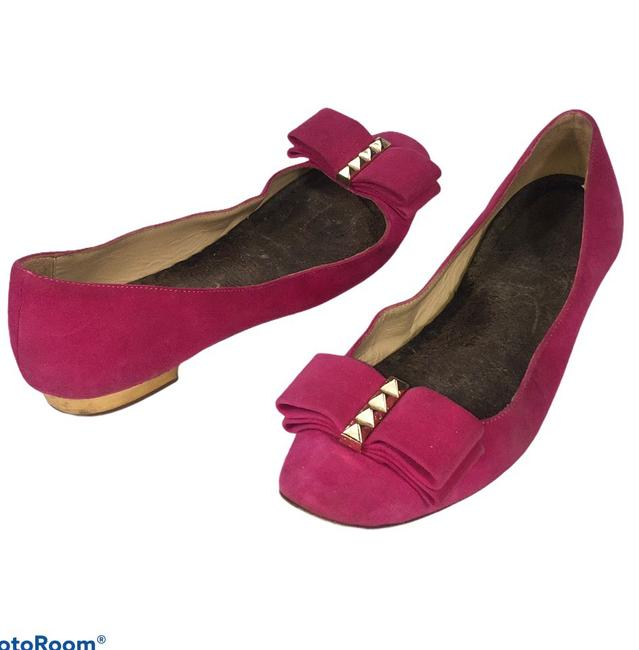 Item - Pink Suede Studded Bow Flats Size US 6 Regular (M, B)