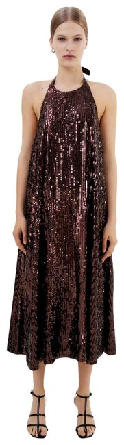 Item - Brown Sequin Halter 2712/306 Small New with Tags. Formal Dress Size 4 (S)