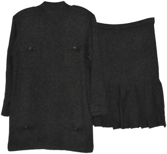 Item - Dark Gray Knit Haute Couture Skirt Suit Size 6 (S)