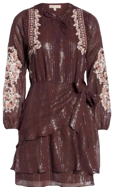 Item - Purple L Metallic Embroidered Silk Mid-length Night Out Dress Size 12 (L)
