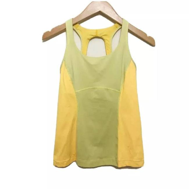 Item - Yellow Power Yoga Workout Running Built In Bra Activewear Top Size 6 (S)
