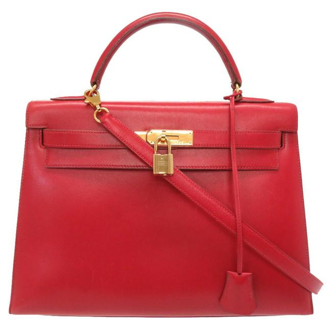 Item - Kelly Outer Sewing Gold Hardware Handbag Red Color Box Calf Leather Satchel