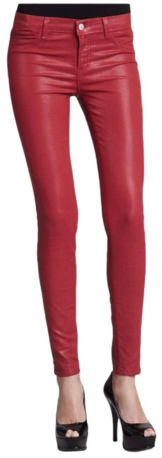 Item - Red Coated Midrise Legging Skinny Jeans Size 28 (4, S)