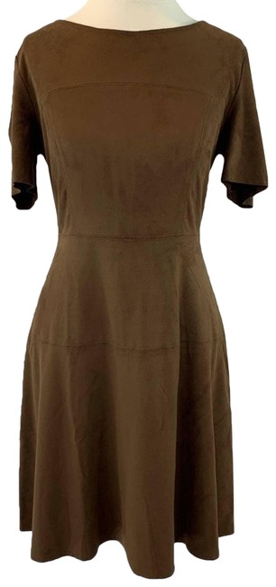 Item - Brown Suede Feel Skater Fit Flare Short Casual Dress Size 4 (S)