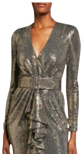 Item - Gold Sequin Long-sleeve Belted Gown with Ruffle Long Casual Maxi Dress Size 6 (S)