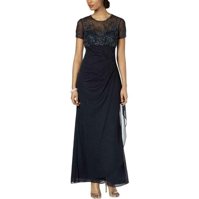 Item - Navy Embellished Empire-waist Gown Long Formal Dress Size Petite 6 (S)