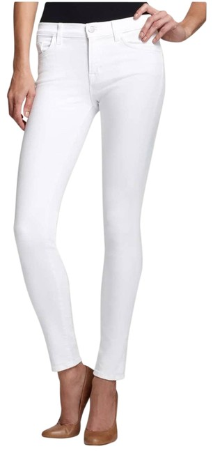 Item - White Light Wash Mid-rise Cropped Blanc Dest Skinny Jeans Size 28 (4, S)