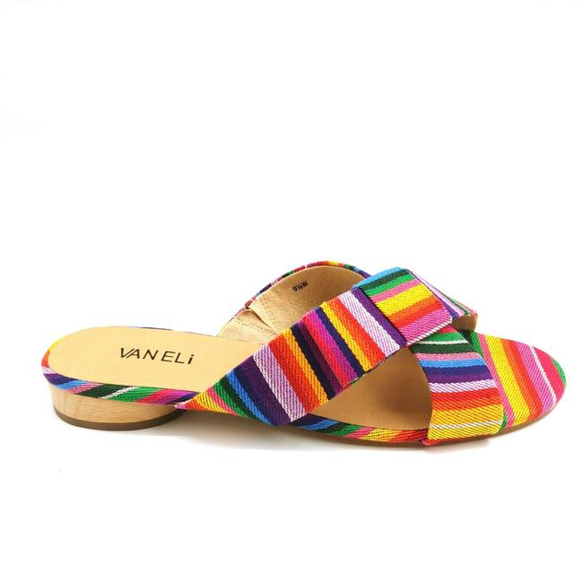 Item - Multicolor Womens Brook Striped Cross Band Heeled Slide Bright Mul Sandals Size US 9.5 Wide (C, D)