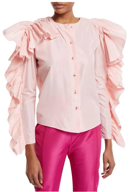 Item - Pink Dramatic Ruffled-sleeve Button Blouse Size 4 (S)