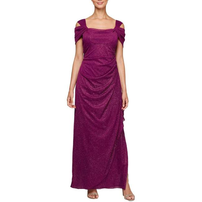 Item - Berry Cold-shoulder Draped Metallic Gown Long Formal Dress Size 10 (M)