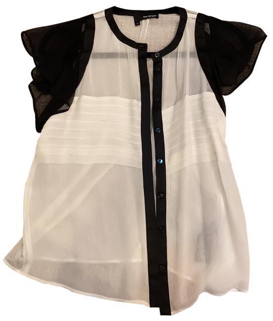 Item - White Black Blouse Button-down Top Size 4 (S)
