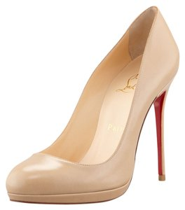 Christian Louboutin Nude Tan Leather Round Toe Platform Stiletto Filo 120 120 Mm Beige Pumps